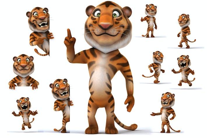 10 fun cartoon Tigers !