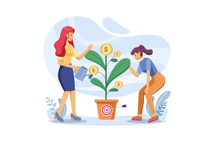 Thumbnail for Women standing on pile of coin watering plant