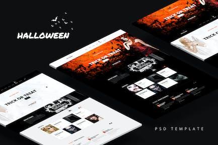 Halloween — Party-Zielseite PSD-Vorlage
