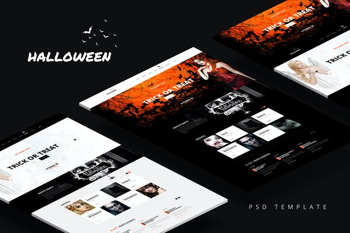 Thumbnail for Halloween — Party Landing Page PSD Template