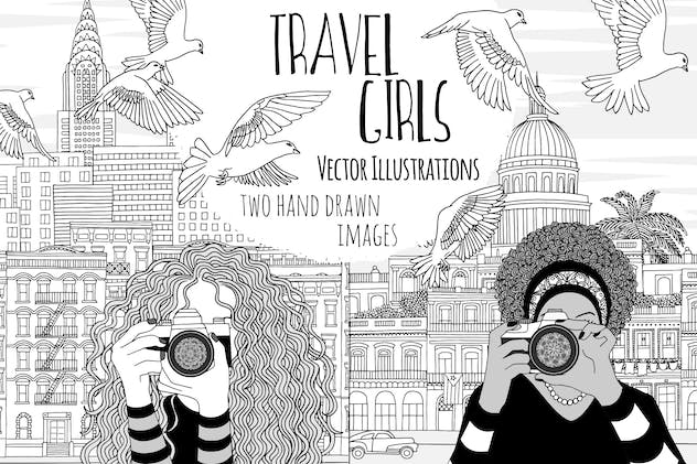 Travel Girls - Two Hand Drawn Vector Illustrations