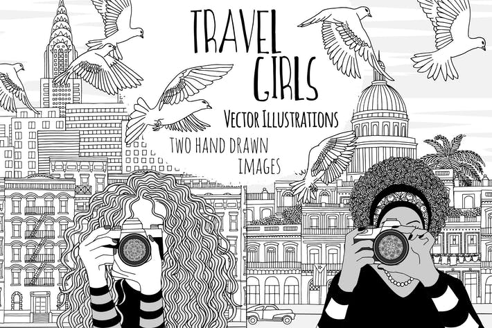Thumbnail for Travel Girls - Two Hand Drawn Vector Illustrations