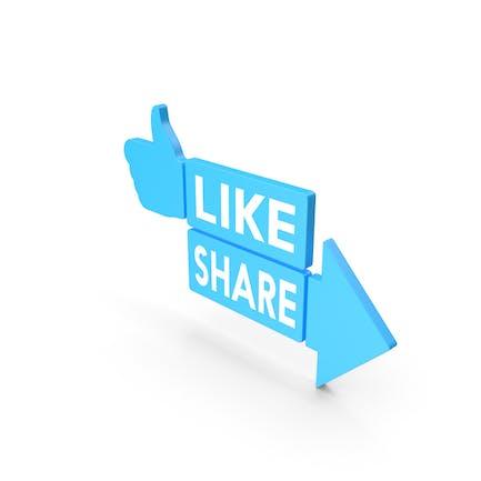 Like And Share Blue Web Icon