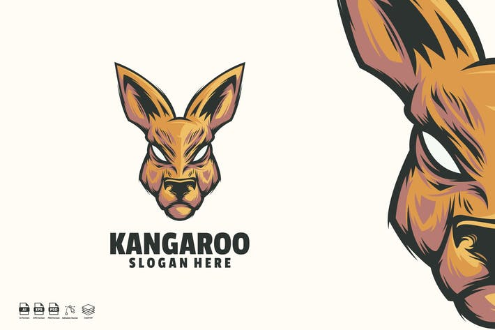 Thumbnail for Kangaroo face Mascot Logo template