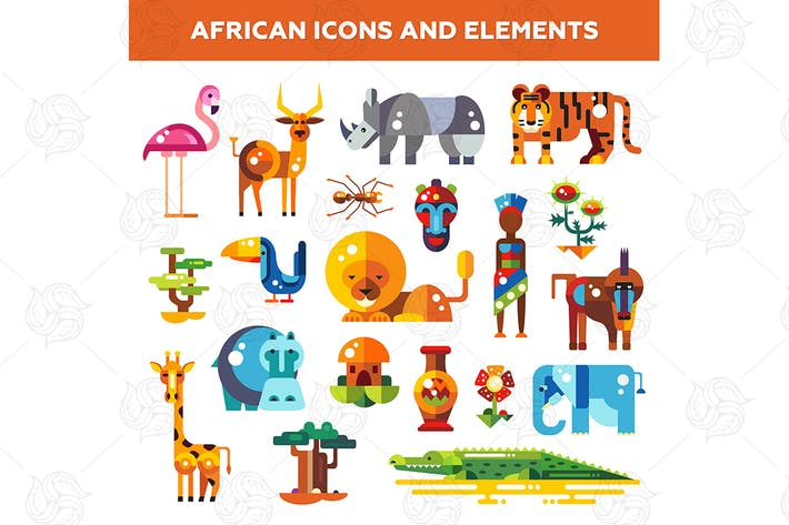 Thumbnail for Africa - Flat Design Style Icons Set