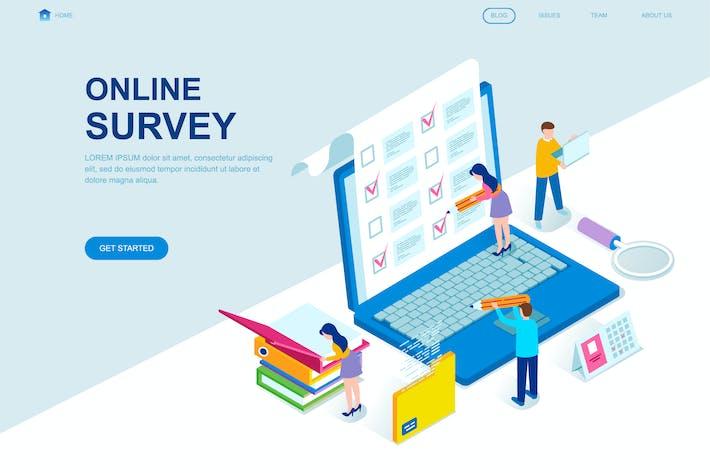 online survey isometric landing page template by alexdndz on envato