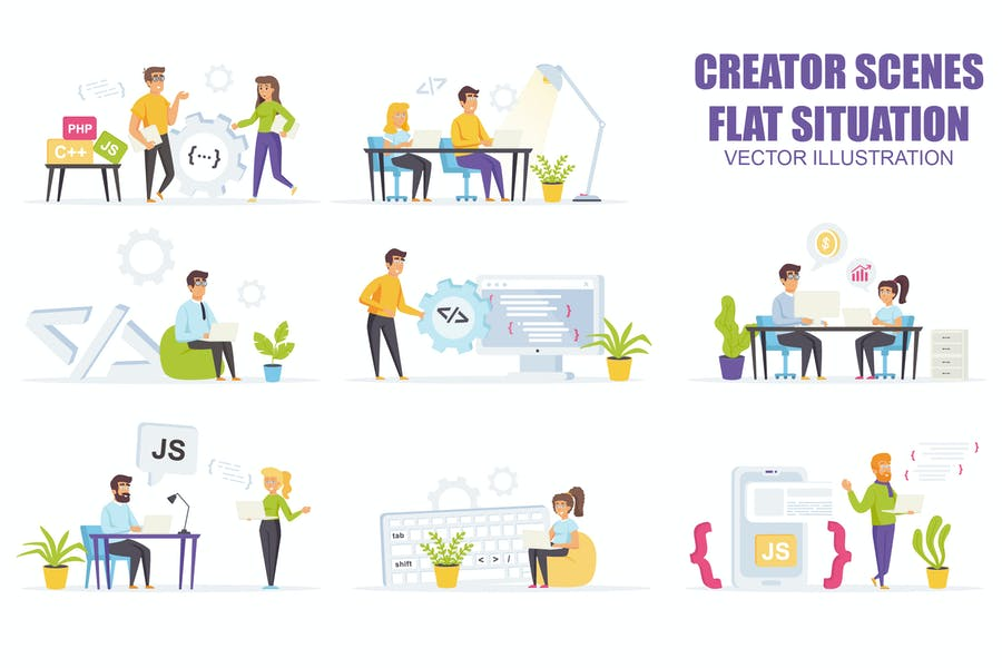 Collection Software Developme Flat Scene Situation