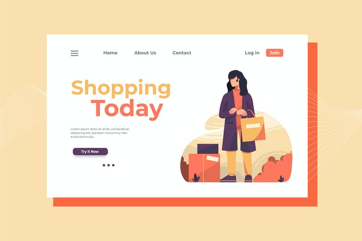 Cover Image For Shopping Today Landing Page Illustration