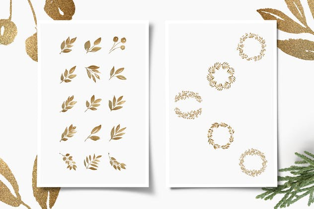 Glittery Gold Leaves, Branches, Wreaths & Patterns