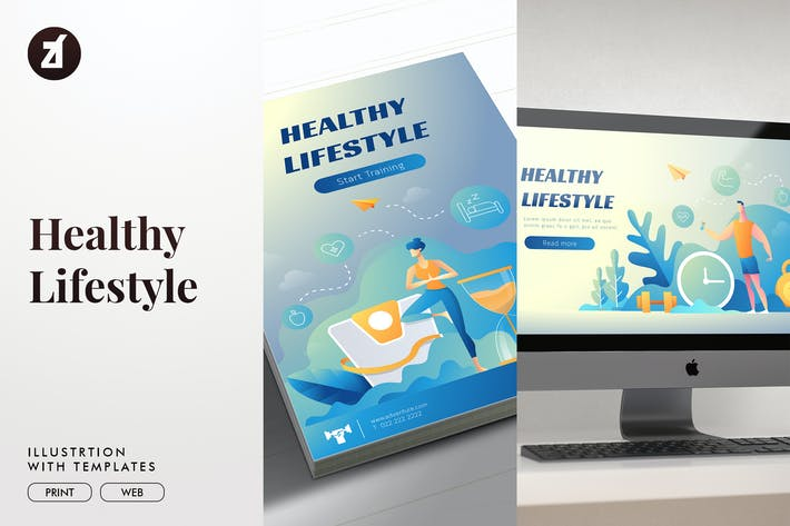 Thumbnail for Healthy lifestyle illustration with layout