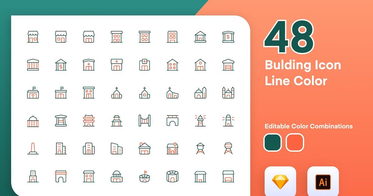 Download Building Icon Line Color by sudutlancip