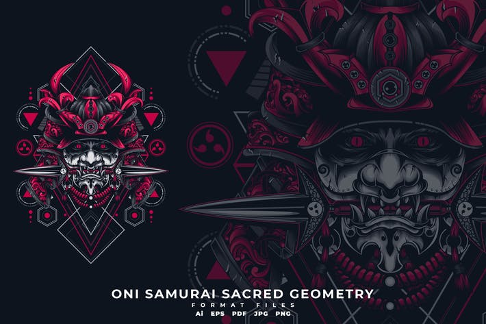Thumbnail for Oni Mask Sacred Geometry