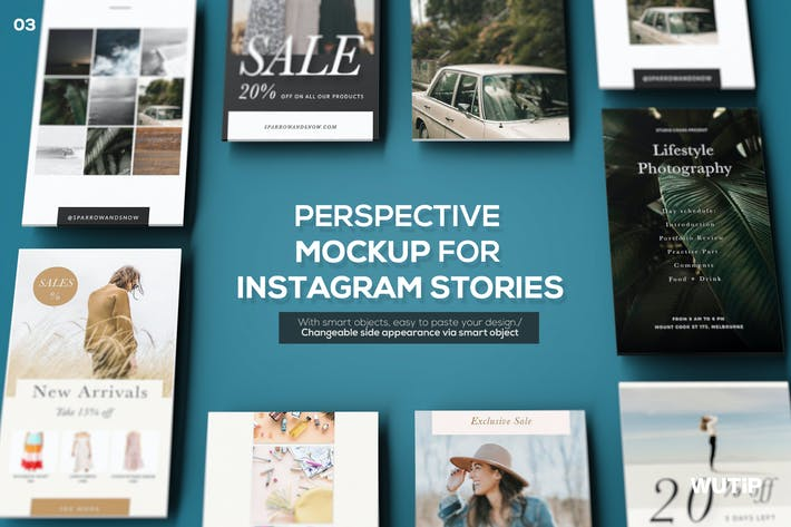 Thumbnail for Perspektive Mockup für Instagram Stories 03