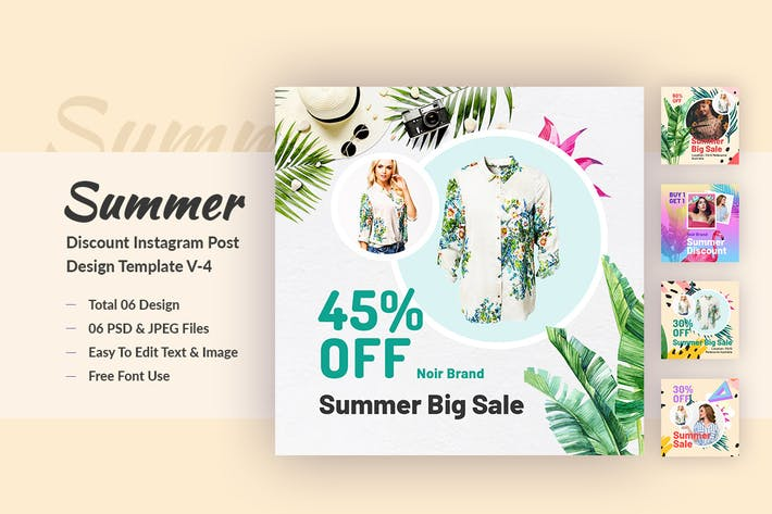 Thumbnail for Summer Discount Instagram Post Design Template V-4