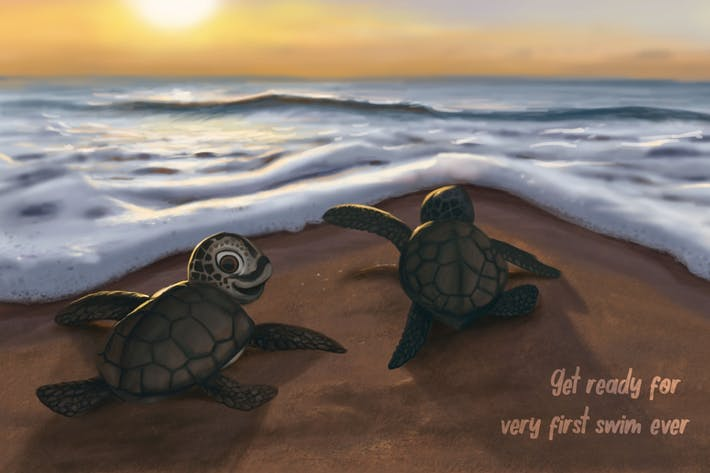 Freedom Turtle  Hand Drawn Digital Painting