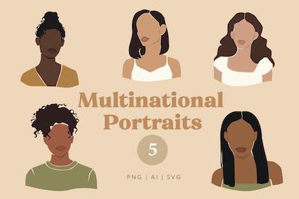Retratos multinacionales abstractos de mujeres
