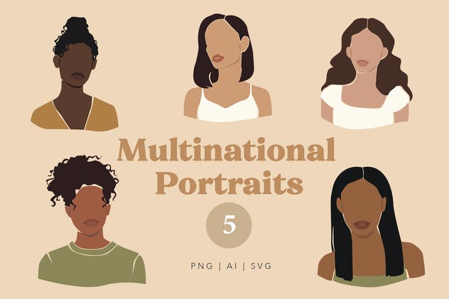 Multinational Abstract Women Portraits