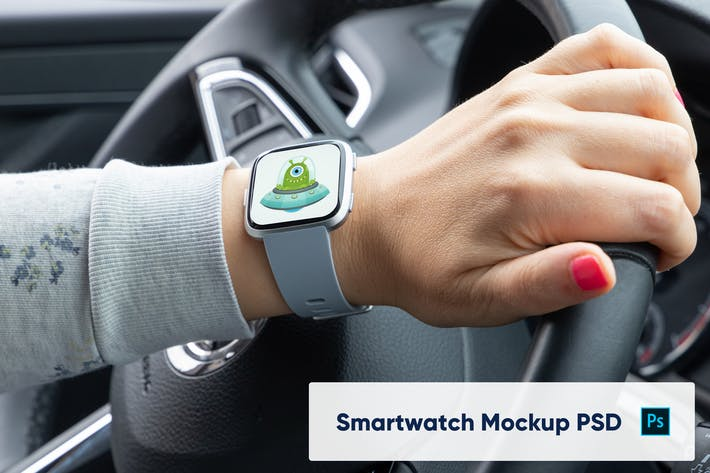Thumbnail for Smart Watch on Woman's Hand - Mockup PSD