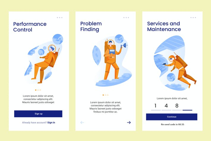Thumbnail for Onboarding Screen Space Science Theme PSD and AI