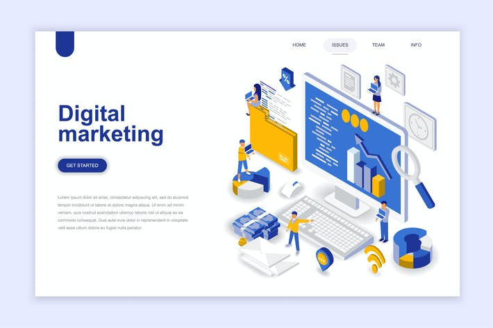 Thumbnail for Digital Marketing Isometric Landing Page
