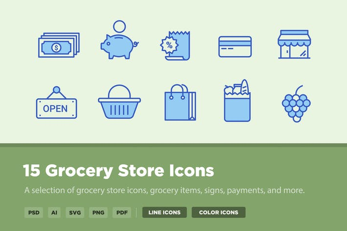 Thumbnail for 15 Grocery Store Icons