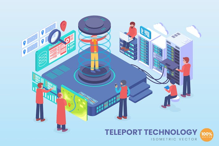 Thumbnail for Isometric Teleport Future Technology Vector
