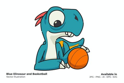 Blue Dinosaur and Basketball