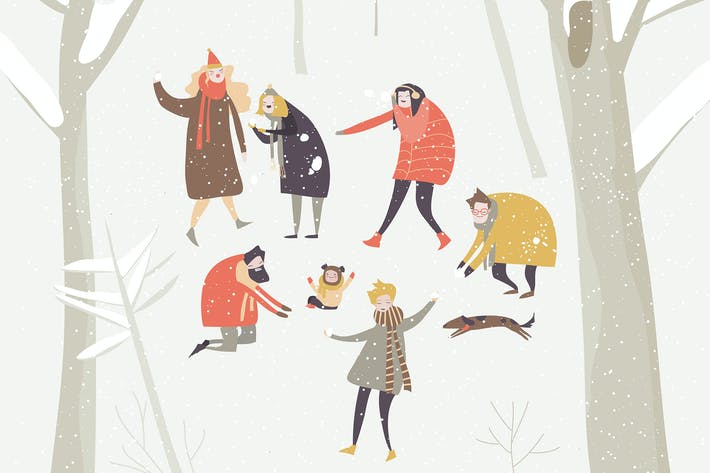 Thumbnail for Group of happy people playing snowballs