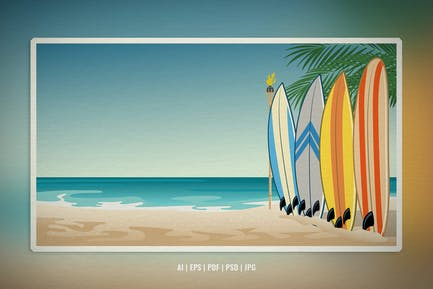 Landscape Illustration of Beach With Surfboard
