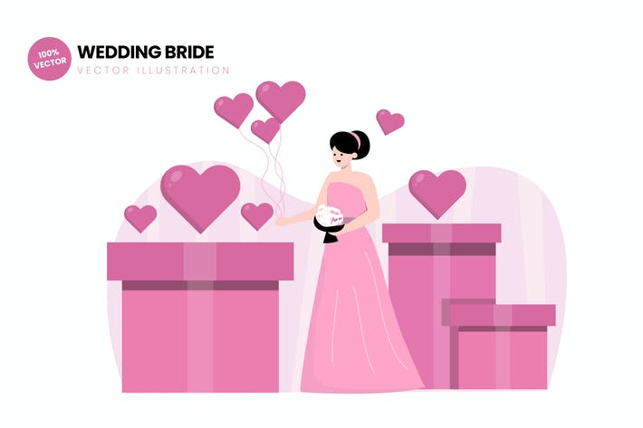 Thumbnail for Wedding Bride Flat Vector Illustration