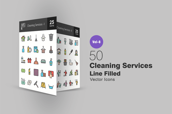 Thumbnail for 50 Cleaning Services Line Filled Icons