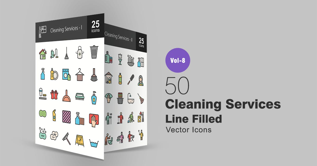 50 Cleaning Services Line Filled Icons by IconBunny
