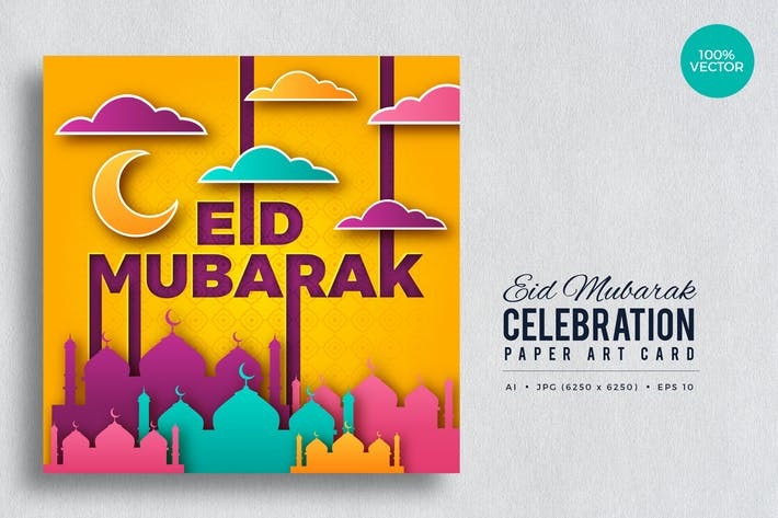 Thumbnail for Eid Mubarak Paper Art Vector Card Vol.2