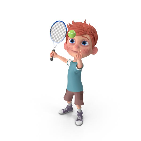 Cartoon Boy Charlie Playing Tennis