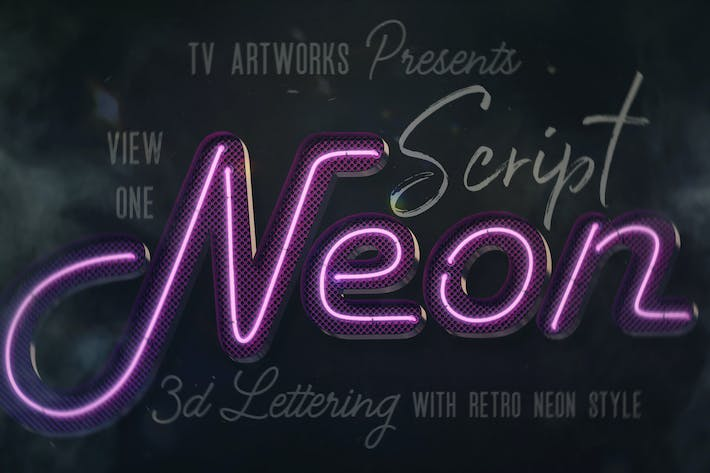 Cover Image For Script Neon 3D Lettering View 1