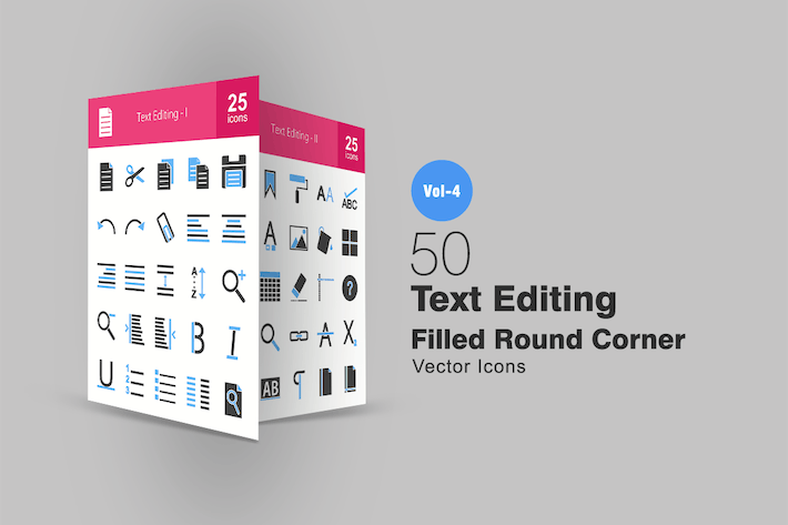 Thumbnail for 50 Text Editing Blue & Black Icons