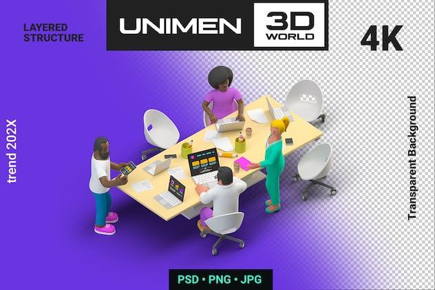 Business People 3D Team Working Office Teamwork