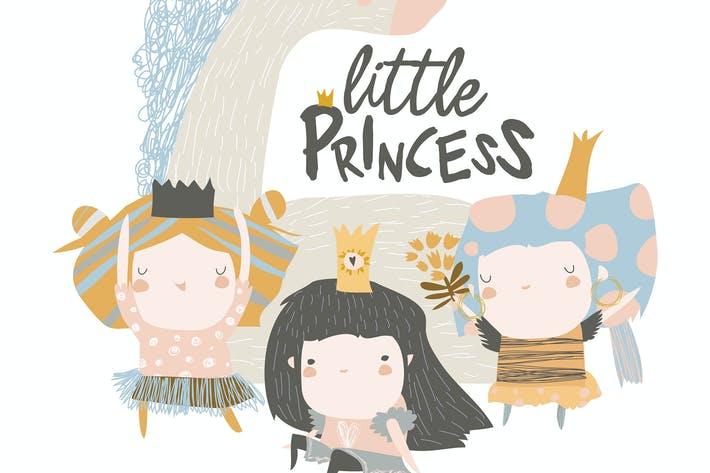 Thumbnail for Little princess girls with magic unicorn on white