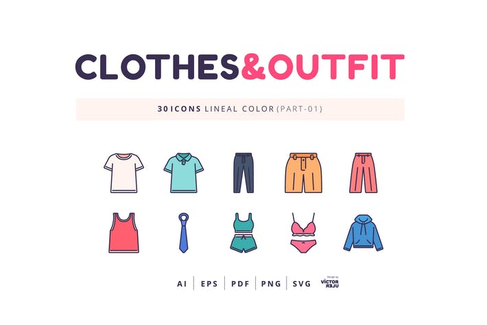 Thumbnail for 30 Icons Clothes&Outfit Part-01 Lineal Color Style