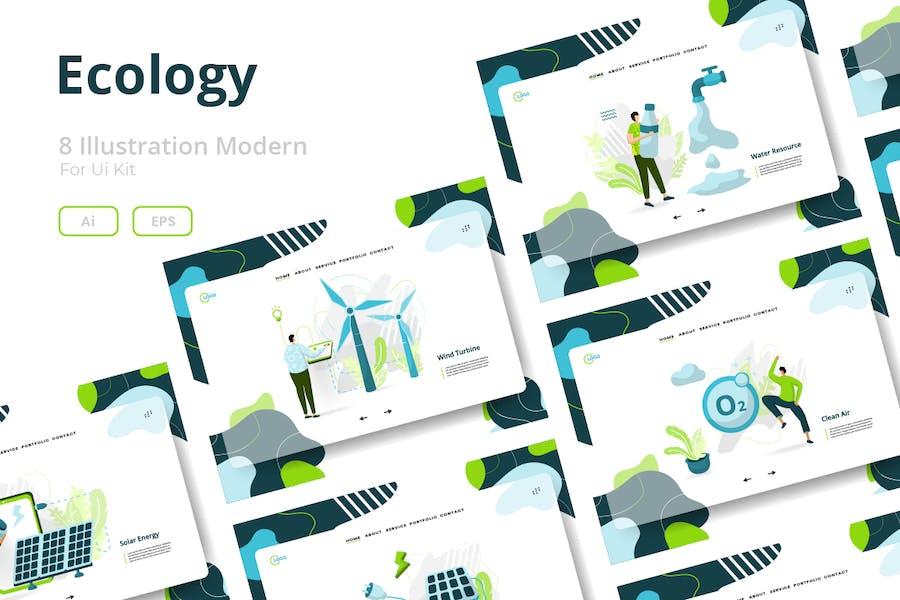 Ökologie-Sets Illustration