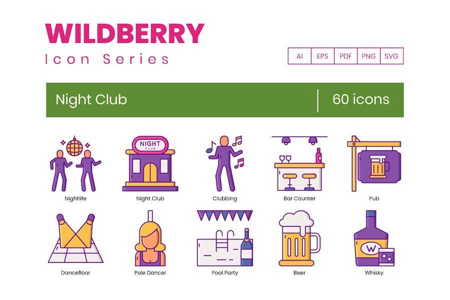 60 Nachtclub-Symbole - Wildberry Series