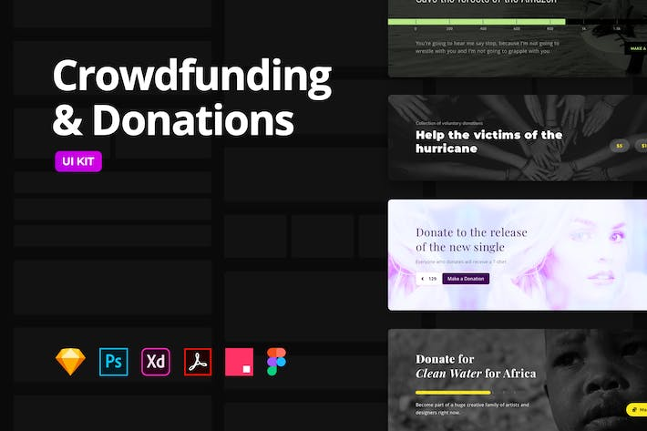 Thumbnail for Crowdfunding & Donations – Multi-Format UI KIT