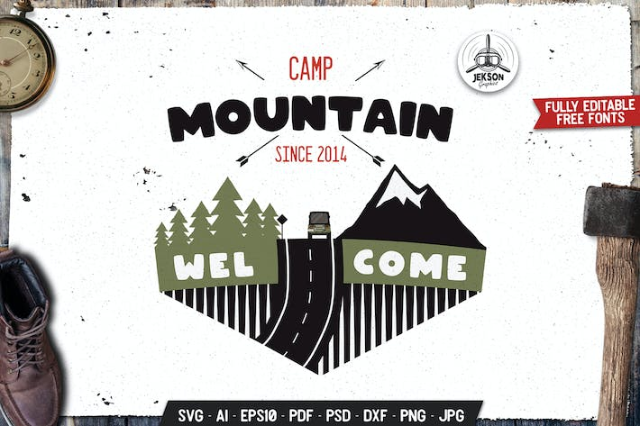 Thumbnail for Mountain Camp Emblem Design. Retro Travel Template