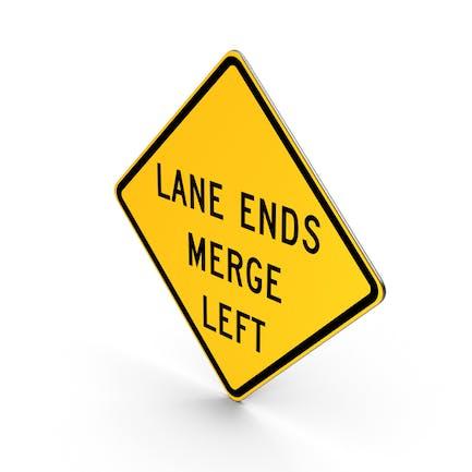 Spurenden verschmelzen Links-Verkehrszeichen