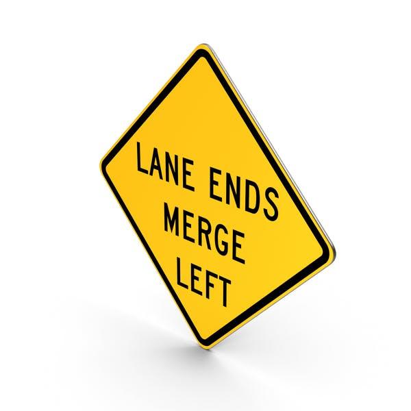 Lane Ends Merge Left Road Sign