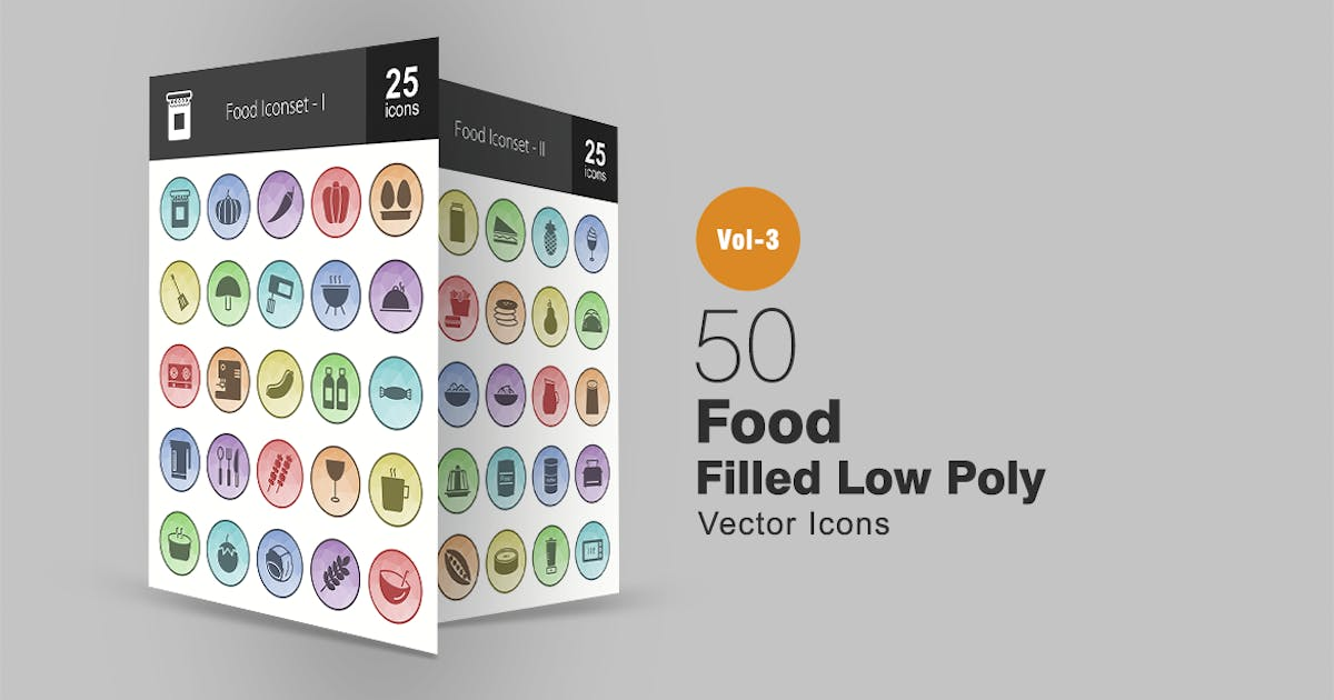 Download 50 Food Filled Low Poly Icons by IconBunny