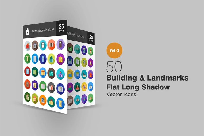 Thumbnail for 50 Buildings & Landmarks Flat Shadowed Icons