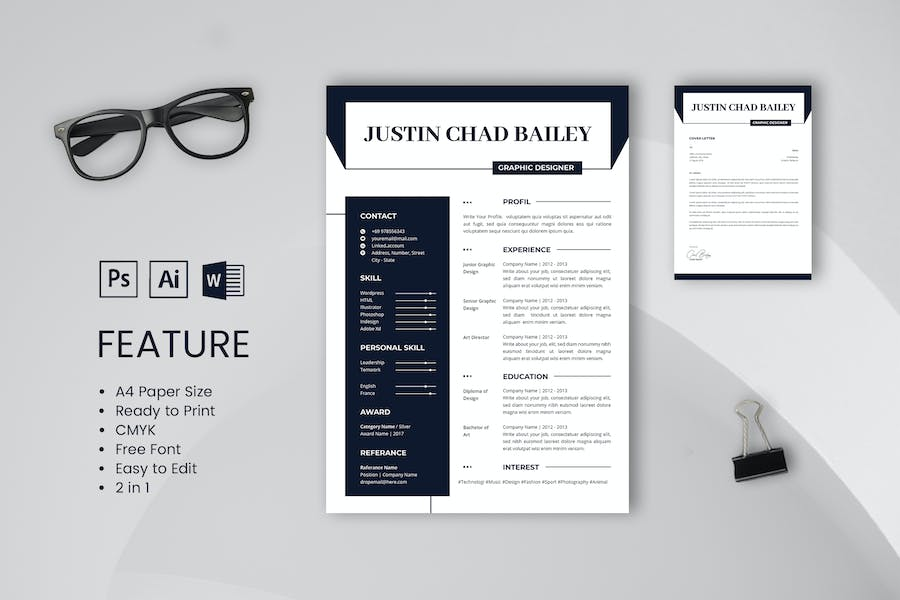 Professional CV And Resume Template Chad Bailey