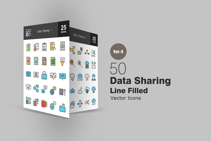 Thumbnail for 50 Data Sharing Line Filled Icons