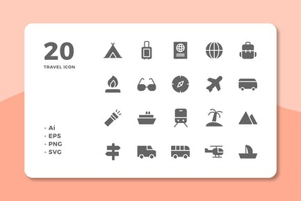 20 Travel Icons (Solid)